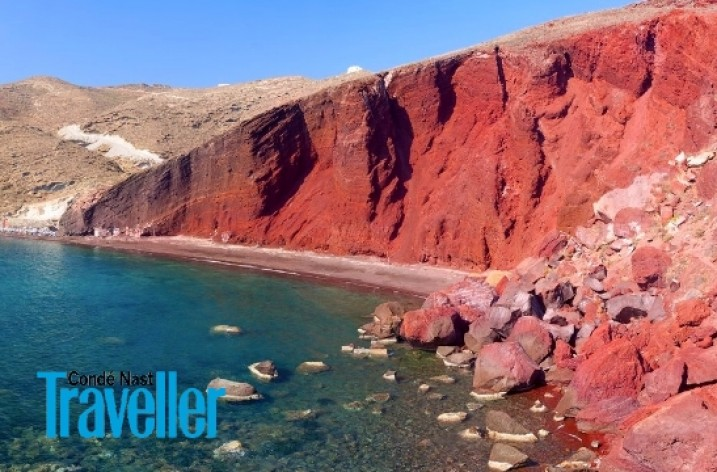 Santorini's Red Beach in world's 10 colorful beaches